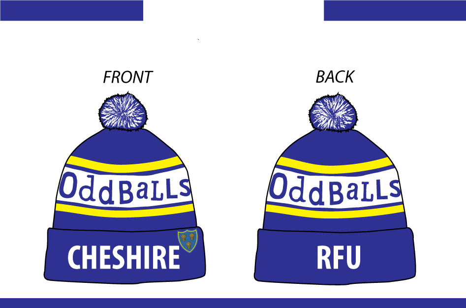 Get ready for winter with a Cheshire RFU Oddballs Bobble Hat…..