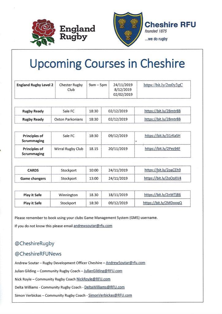 RFU November Courses….