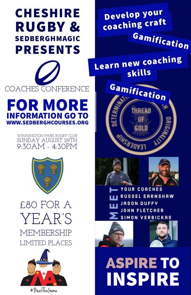 New Date for Cheshire RFU & Sedbergh Magic Coaching Conference August 29th…..